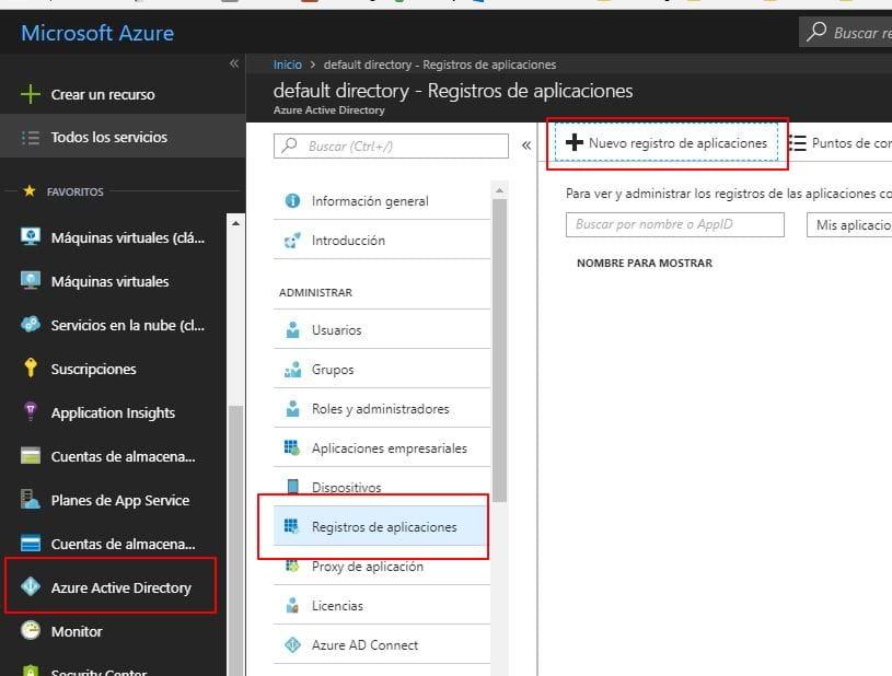Crear regitro aplicación en Active Directory de Azure