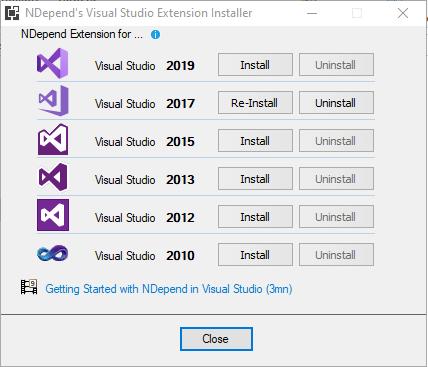 Instalador extensión de Visual Studio NDepend